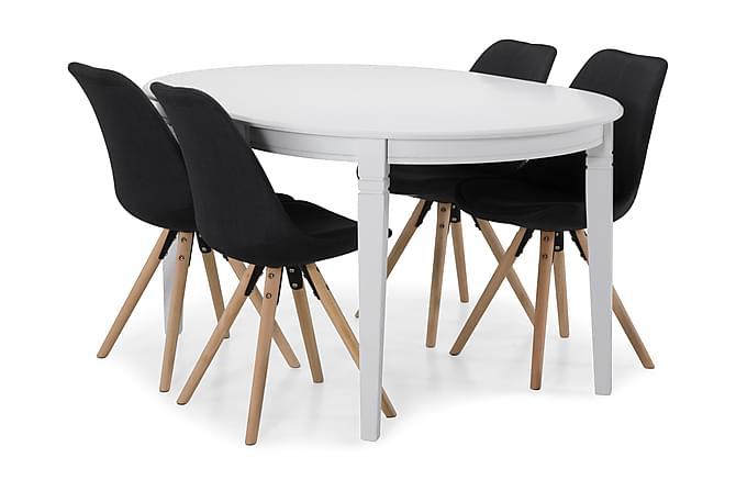 LEVIDE Bord + 4 MARION Stol Vit/Mörkgrå - Möbler & Inredning - Bord - Matgrupper