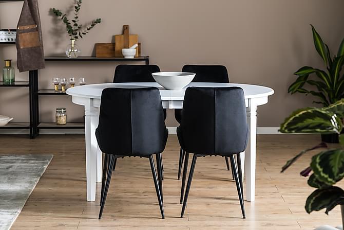 LEVIDE Förlängningsbart Matbord Vit + 4 VIKEN Stol Svart - Möbler & Inredning - Bord - Matgrupper