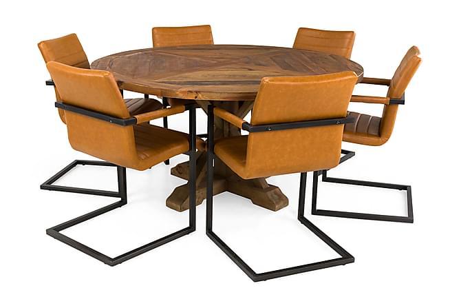 LIRE Bord 150 Rund + 6 HOUSE Stol Vintage Alm/Ljusbrun - Möbler & Inredning - Bord - Matgrupper