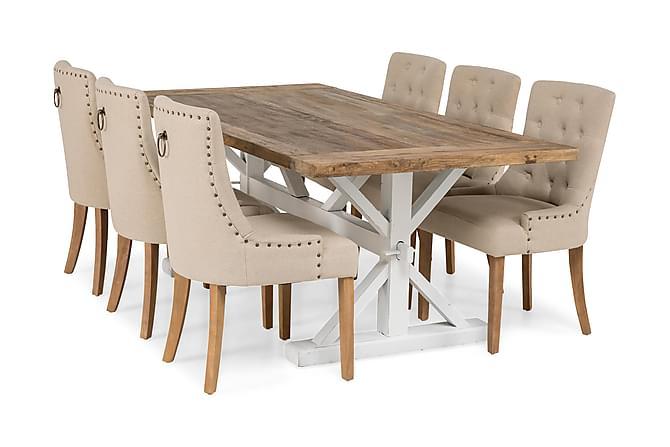 LIRE Förlängningsbart Bord 200 Natur/Vit+6 COOLFAX Stol Beig - Möbler & Inredning - Bord - Matgrupper