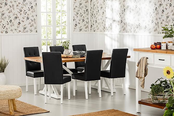 LIRE Förlängningsbart Bord 200 Natur/Vit+6 STILO Stol Svart - Möbler & Inredning - Bord - Matgrupper