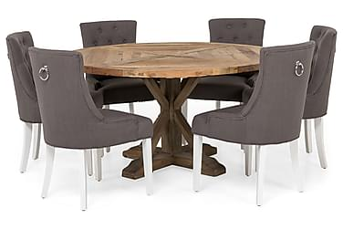LIRE Matbord 150 Natur + 6 COLFAX Stol Grå/Vit