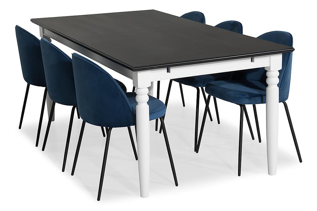 MACKAY Bord 190 Vit + 6 SANDRO Stol Mörkblå/Svarta Ben - Möbler & Inredning - Bord - Matgrupper