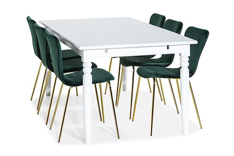 MACKAY Bord 190 Vit med 6 MILVA Stol Grön/Mässing - Möbler & Inredning - Bord - Matgrupper