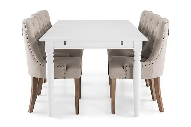 MACKAY Matbord 190 Vit + 6 COLFAX Fåtölj Beige - Möbler & Inredning - Bord - Matgrupper