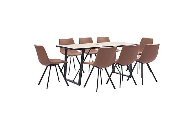 Matgrupp 9 delar mellanbrun konstläder - Brun - Möbler & Inredning - Bord - Matgrupper