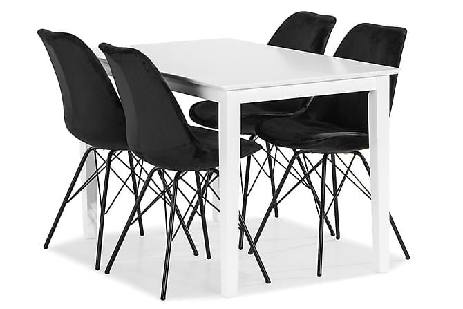 MELROSE Matbord 120 Vit + 4 ZENIT Stol Sammet Svart - Inomhus - Bord - Matgrupper