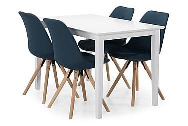 MELROSE Matbord + 4 MARION Stol Vit/Blå