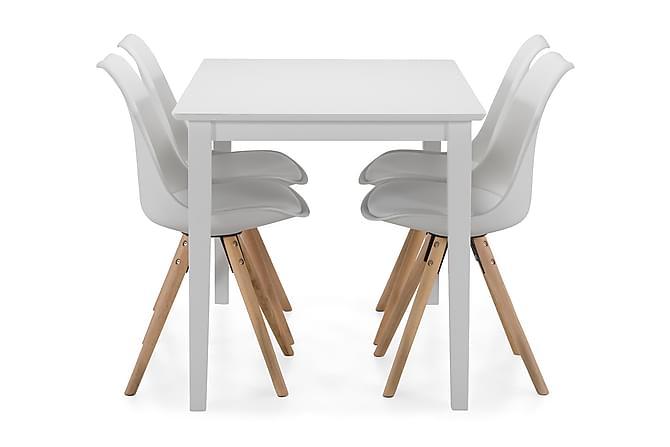 MELROSE Matbord + 4 MARION Stol Vit/Ek - Möbler & Inredning - Bord - Matgrupper