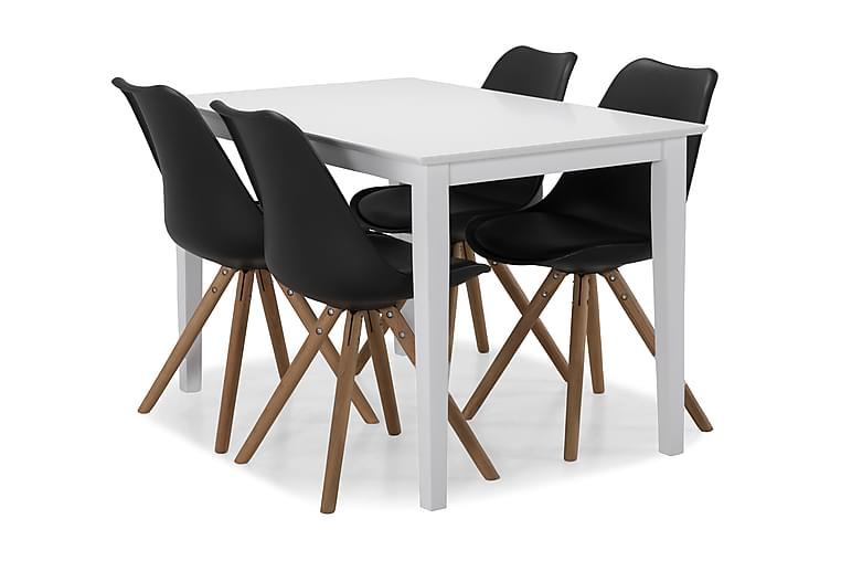 MELROSE Matbord + 4 MARION Stol Vit/Svart/Trä - Möbler - Matplats - Matgrupp & köksgrupp