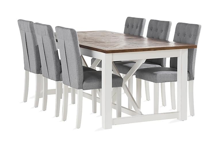 MIIA Matbord 200 cm Trä/Natur/Vit + 6 LOMBEN Stolar - Möbler & Inredning - Bord - Matgrupper