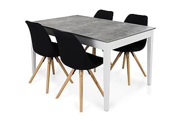 MORGAN Matbord 140 Ljusgrå/Vit + 4 MARION Stol Mörkgrå