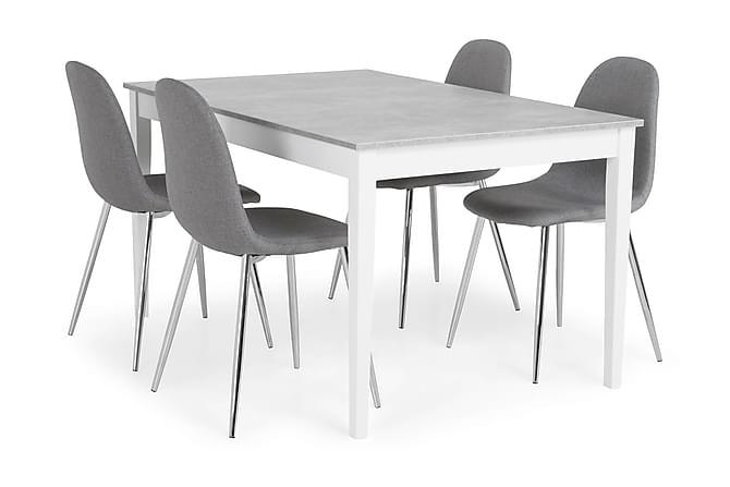 MORGAN Matbord 140 Ljusgrå/Vit + 4 NIKOLAS Stol Grå/Krom - Möbler & Inredning - Bord - Matgrupper