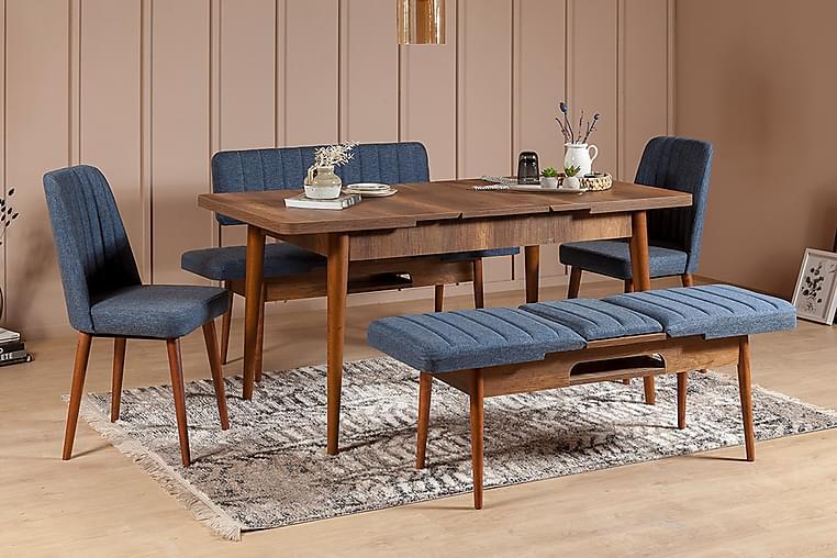 NATASIA Matgrupp 5 delar 75 cm Valnöt/Mörkblå - Möbler & Inredning - Bord - Matgrupper