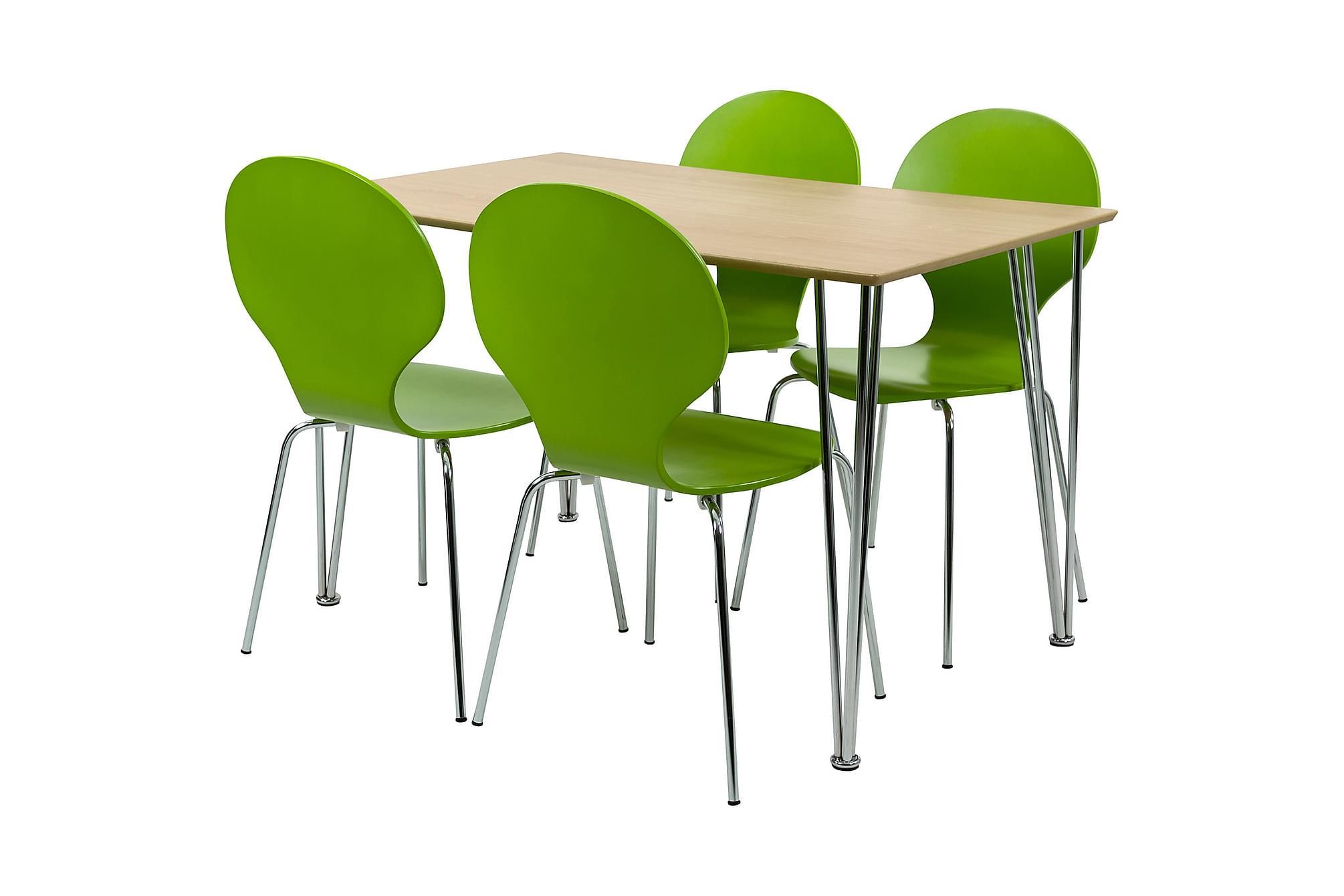 NINA Matbord Ovalt Natur/Krom + 4 ALMIDA Stol Lime/Krom