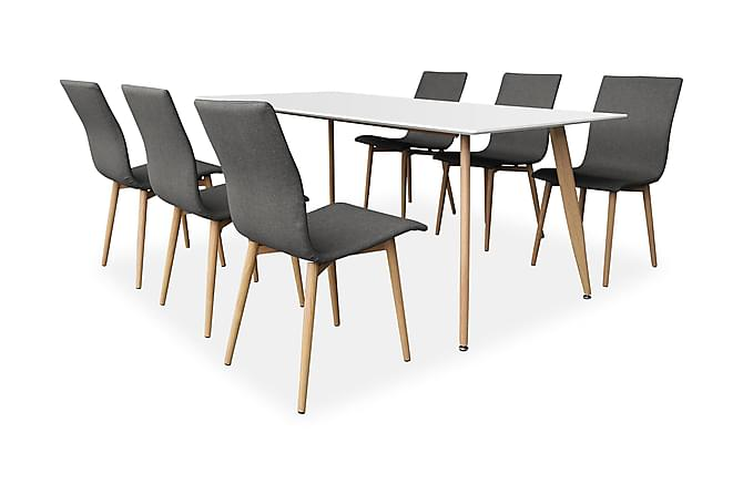 PESO Matbord 180 Ek/Vit + 6 WALDER Stol Grå/Ek - Möbler & Inredning - Bord - Matgrupper