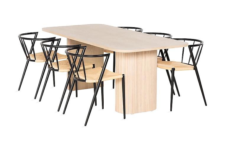 RAMSTA Matbord 200 cm Vit + 6 EWALD Stolar Svart - Möbler & Inredning - Bord - Matgrupper