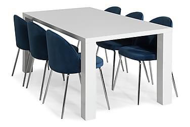 SALA Bord Vit + 4 SANDRO Stol Mörkblå/Kromade Ben