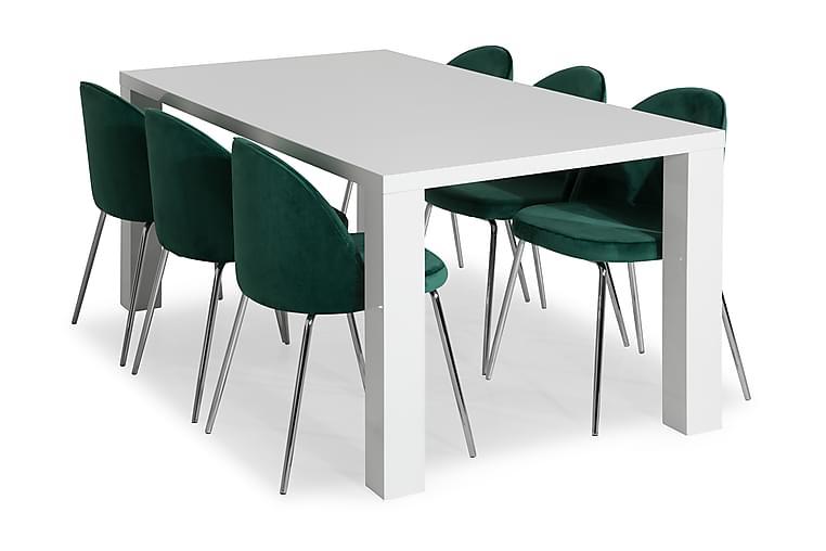 SALA Bord Vit + 6 SANDRO Stol Grön/Kromade Ben - Möbler & Inredning - Bord - Matgrupper