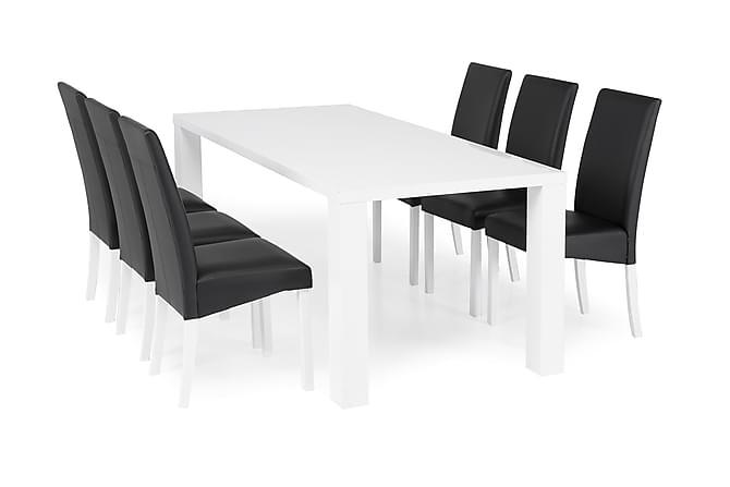 SALA Matbord 180 Högblank Vit + 6 MATTIA Stol Svart - Möbler & Inredning - Bord - Matgrupper