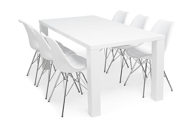 SALA Matbord 180 Vit + 6 ZENIT Stol Vit/Krom - Möbler & Inredning - Bord - Matgrupper