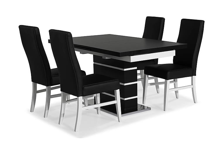 SUNNE Matbord Svart/Vit + 4 st MATTIA Stol Svart PU - Möbler & Inredning - Bord - Matgrupper