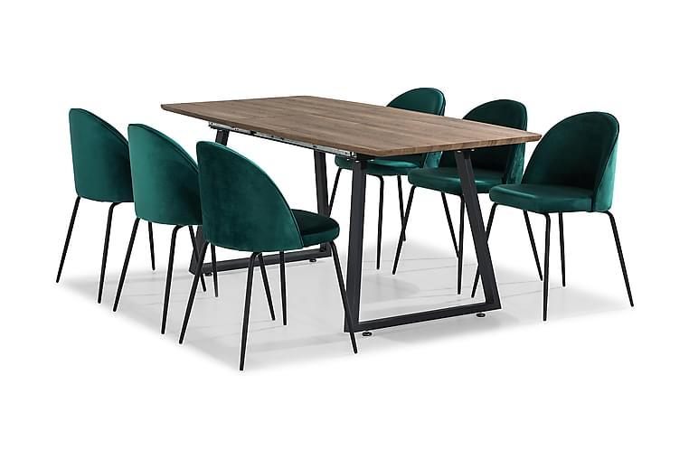 SWEETPO Förlängningsbart Bord 140 Brun + 6 SANDRO Stol Grön - Möbler & Inredning - Bord - Matgrupper