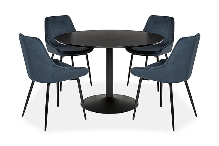 VITALE Matgrupp med 4 OCTAVIUS Stol Blå/Svart/Sammet - Möbler & Inredning - Bord - Matgrupper