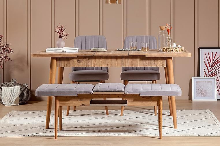ZEDRICK Matgrupp 4 delar 75 cm Trä/natur/Mörkblå - Möbler & Inredning - Bord - Matgrupper