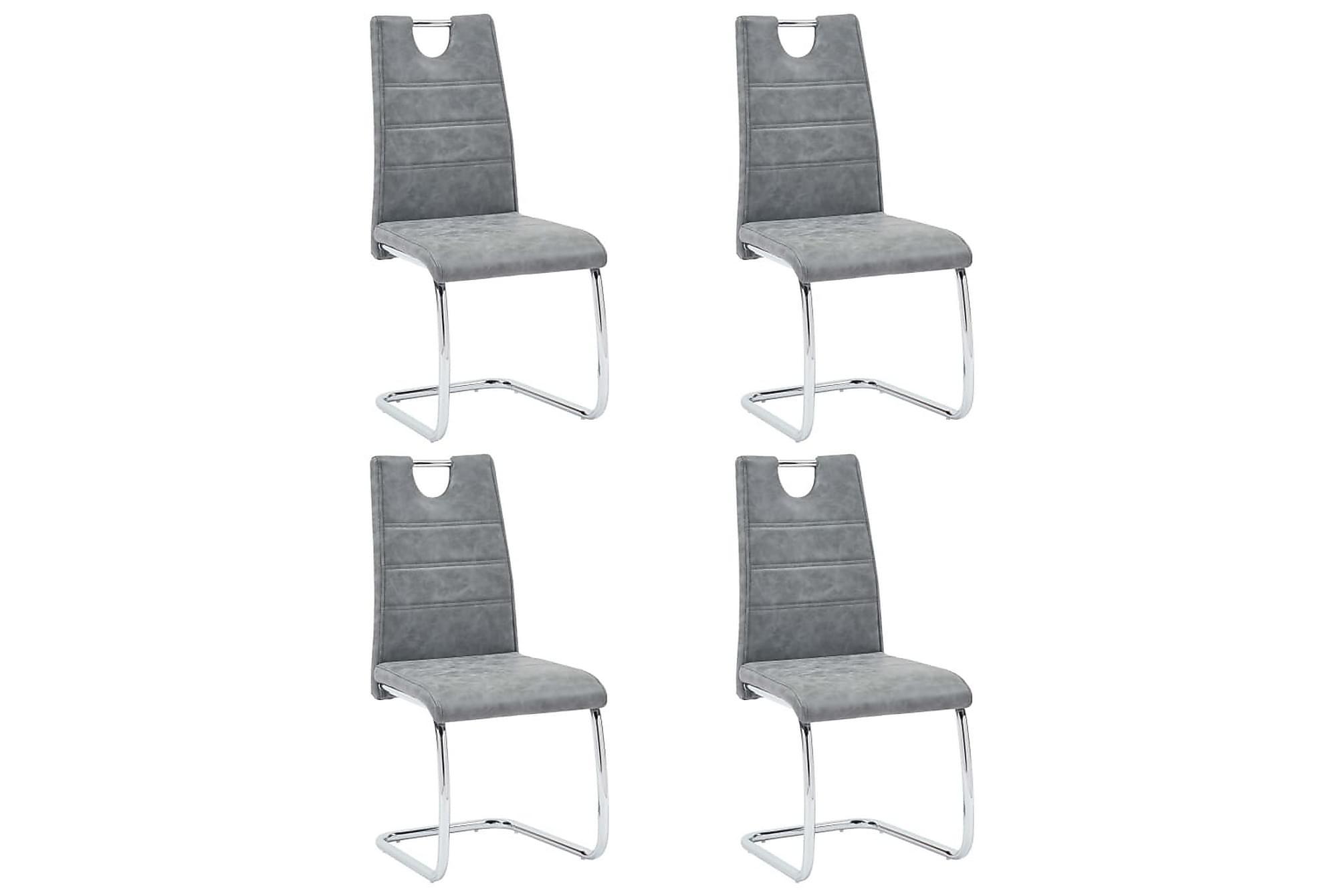Matstolar 4 st grå konstläder