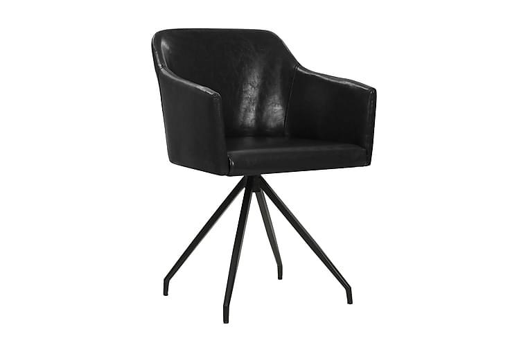 Matstolar 4 st snurrbara svart konstläder - Svart - Möbler & Inredning - Stolar - Matstolar