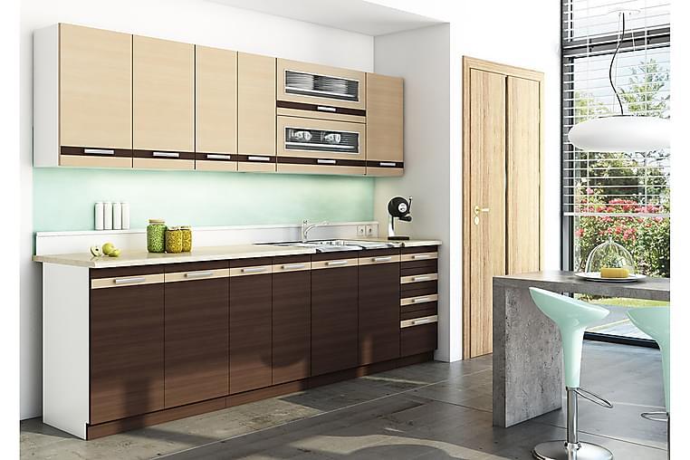 Lungo Köksset 260x44,6x154 cm - Brun - Möbler & Inredning - Möbelset - Möbelset för kök & matplats