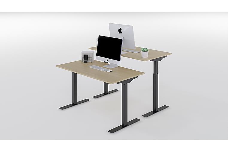 Höj & Sänkbart Skrivbord Björk Bordsskiva, Svarta Bordsben - AZ Design - Möbler & Inredning - Bord - Skrivbord