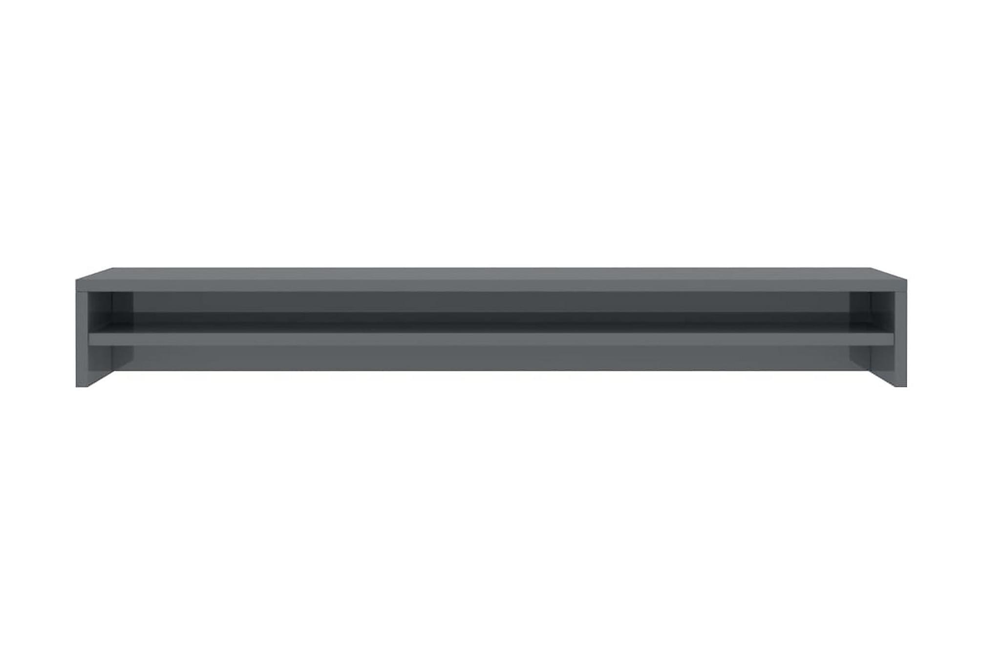 Skärmställ grå högglans 100x24x13 cm spånskiva, Tv-väggfästen