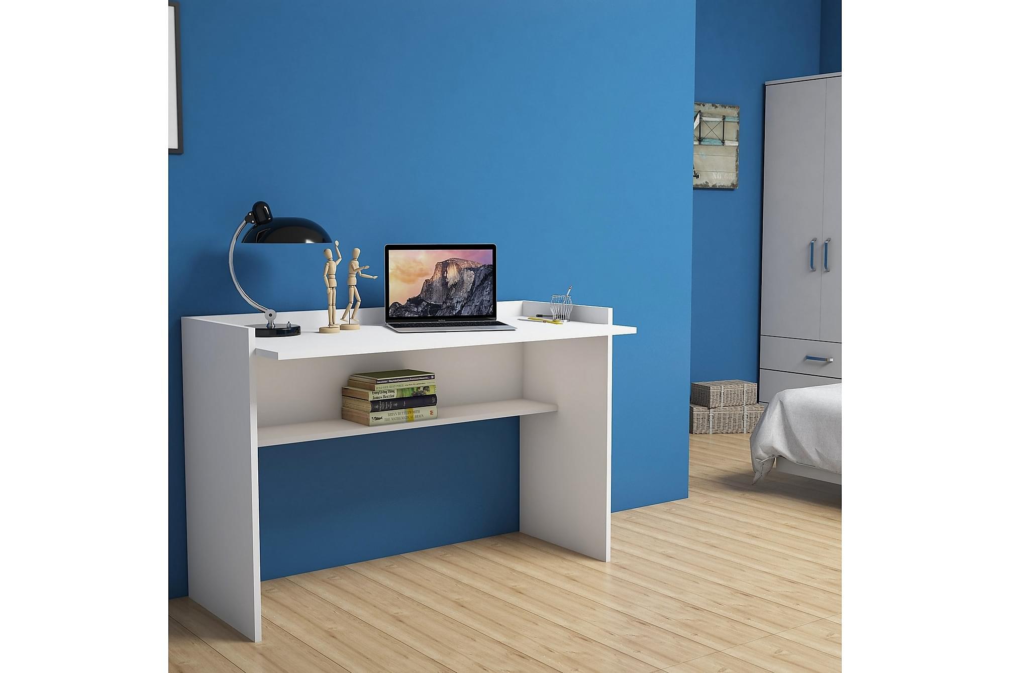 ZETO Skrivbord 118 cm Vit, Datorbord