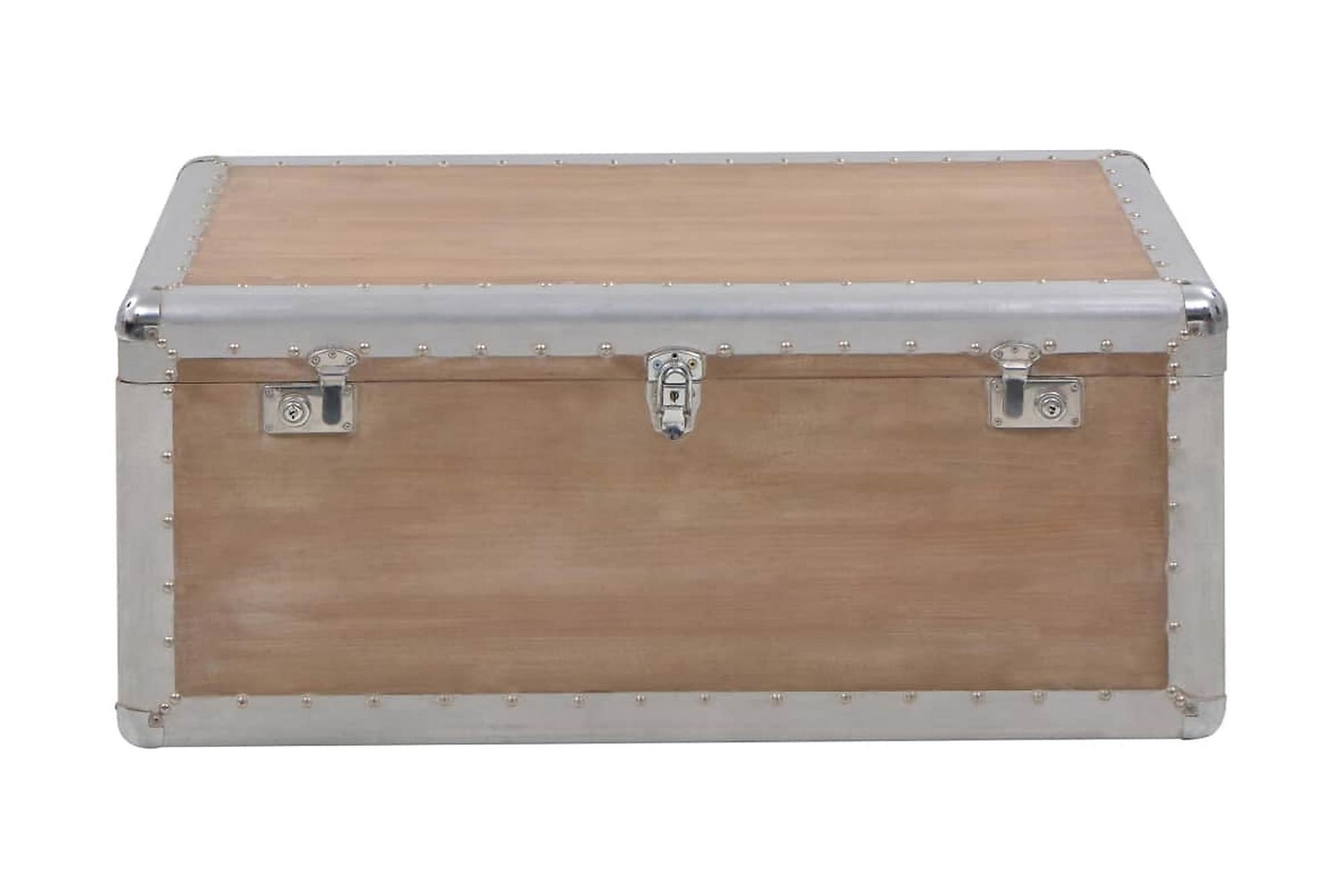 Förvaringslåda massivt granträ 91x52x40 cm brun, Förvaringskistor & sängkistor
