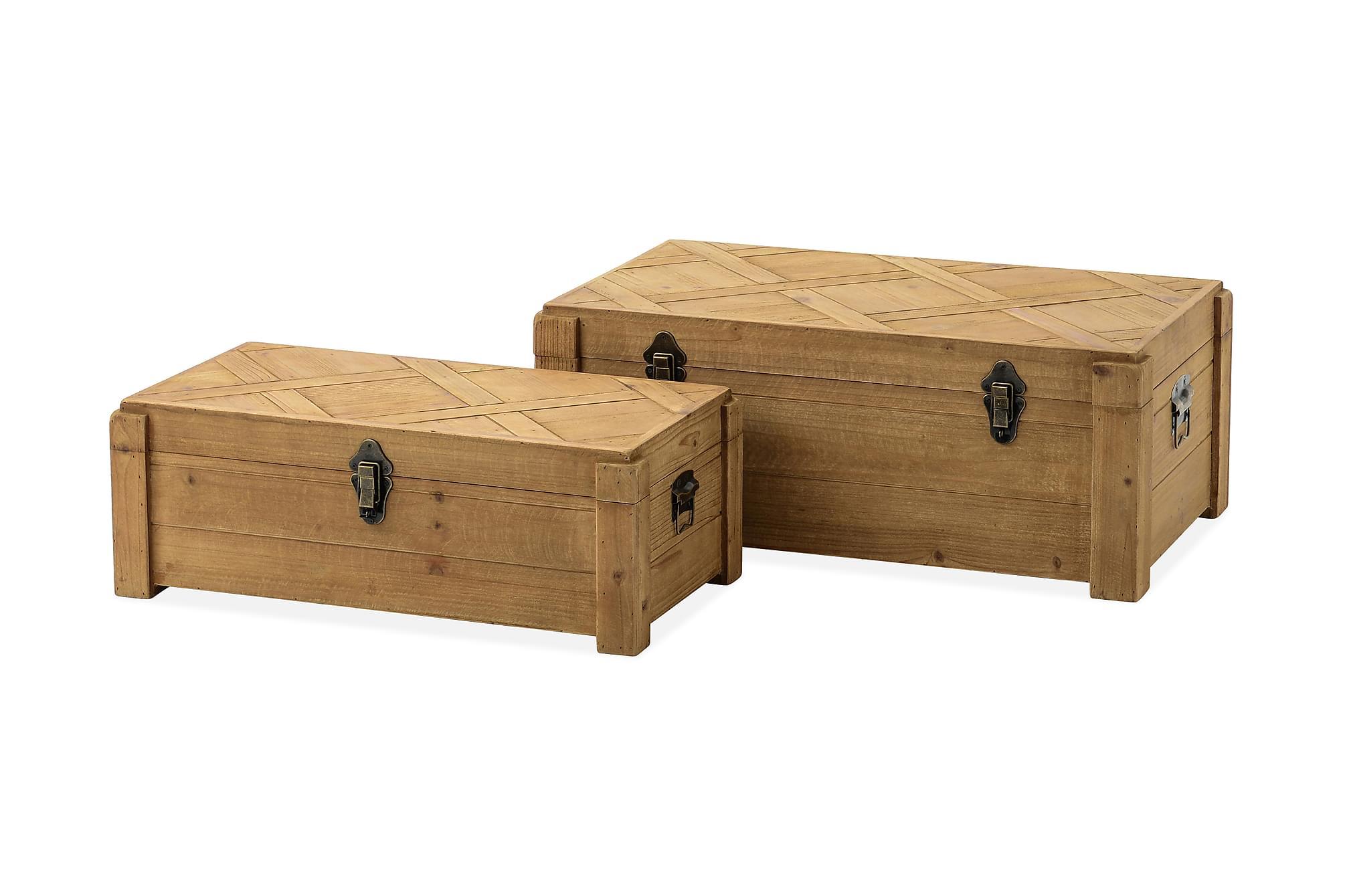 HAJICEK Kista 32x22 cm Trä/Natur, Förvaringskistor & sängkistor