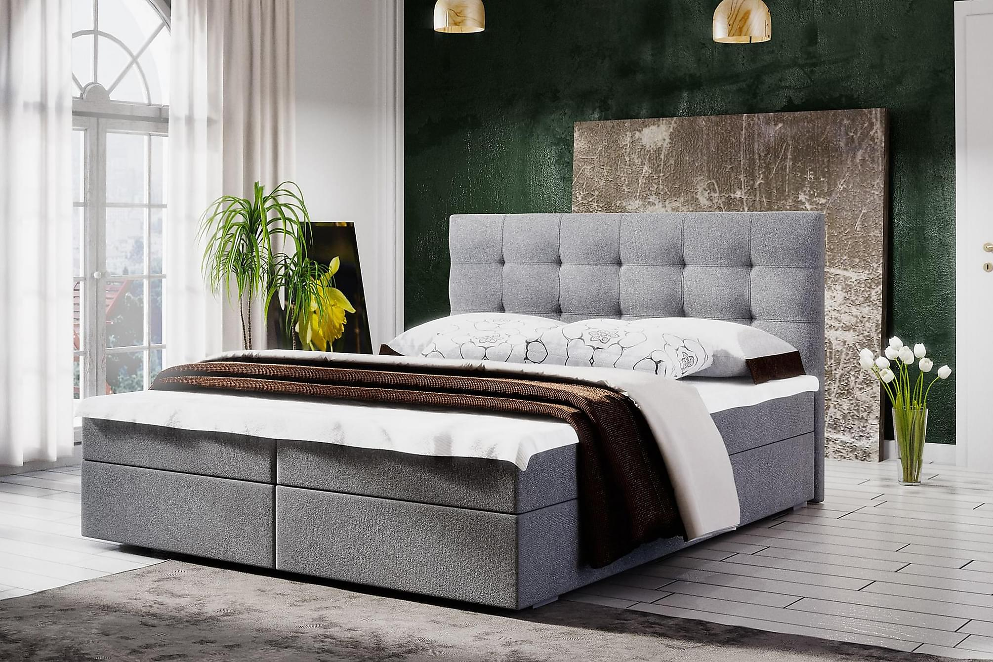 MAGDY Sängpaket 160 Rutmönstrad Gavel Grå