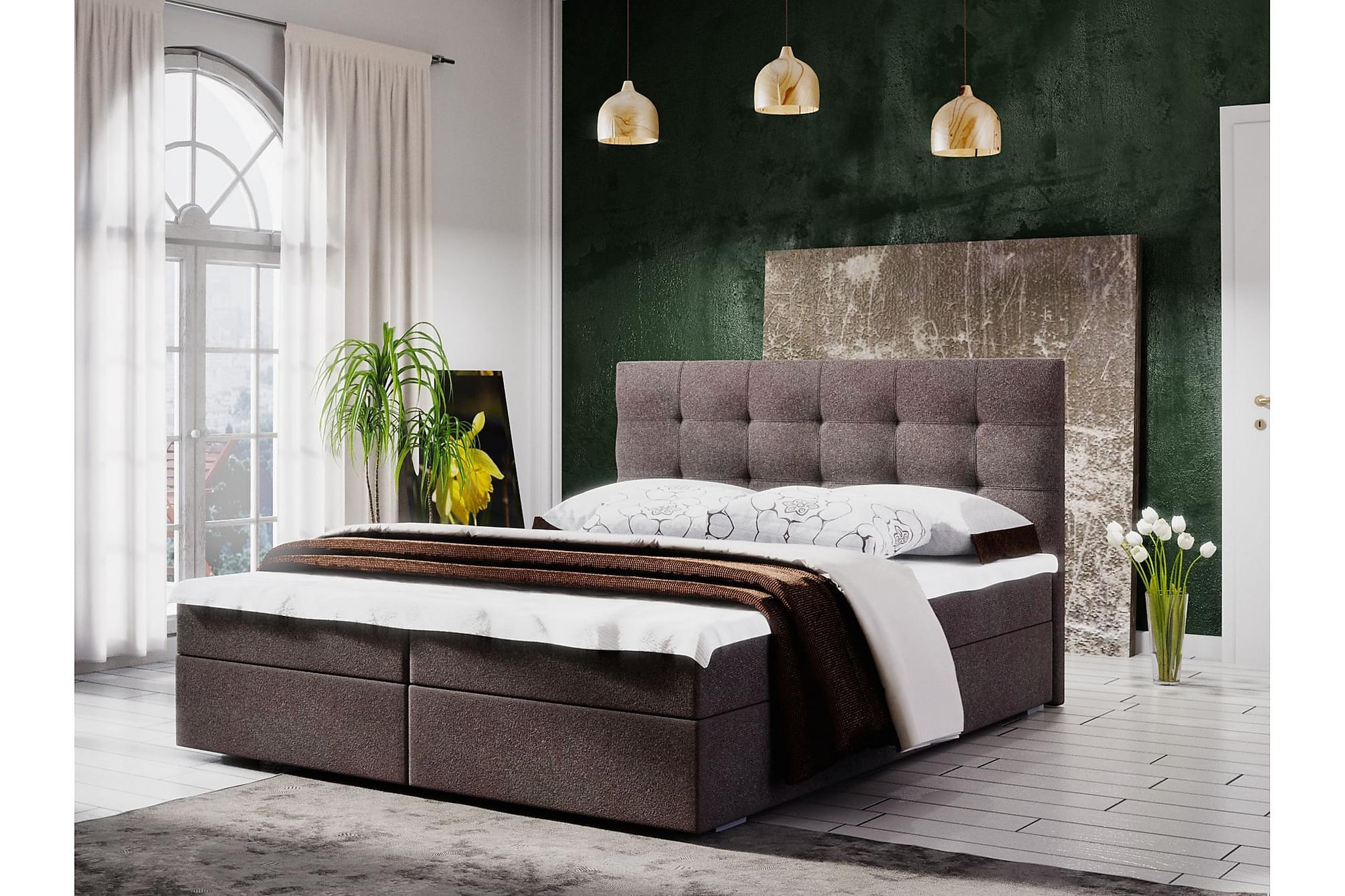 MAGDY Sängpaket 180 Rutmönstrad Gavel Brun