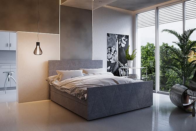DANNI Sängpaket 140 Mönstrad Gavel Grå - Grå - Möbler & Inredning - Sängar - Dubbelsängar
