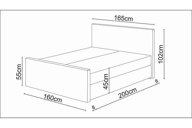 DANNI Sängpaket 160 Mönstrad Gavel Brun - Brun - Möbler & Inredning - Sängar - Komplett Sängpaket