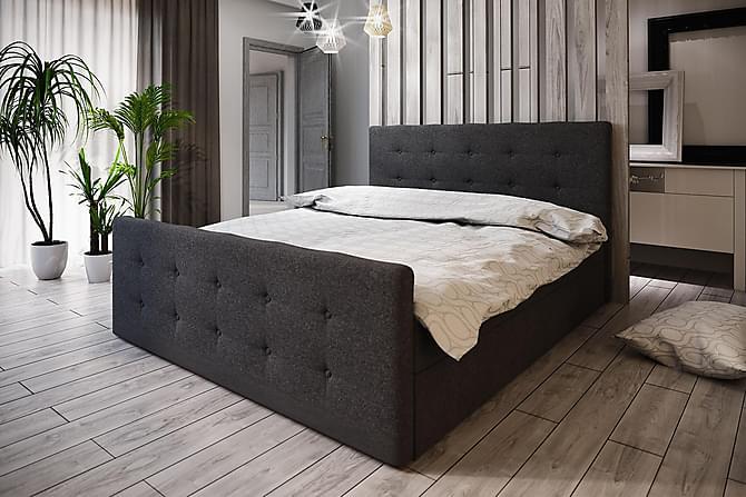 DANNI Sängpaket 180 Knappad Gavel Mörkgrå - Mörkgrå - Möbler & Inredning - Sängar - Komplett Sängpaket