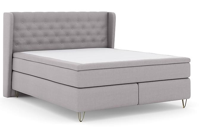 LEXI No 4 Sängpaket 180 Medium - Ljusgrå/Metall V-form - Möbler & Inredning - Sängar - Kontinentalsängar