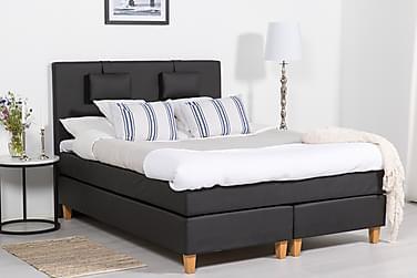 SINNEBO Sängpaket 160 Svart PU Ek Fyrkant