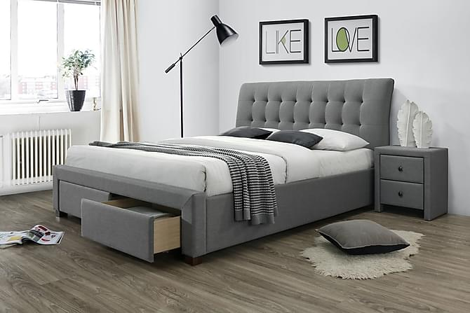 CILENTO Förvaringssäng 160x200 Grå/Valnöt - Möbler & Inredning - Sängar - Sängar med förvaring