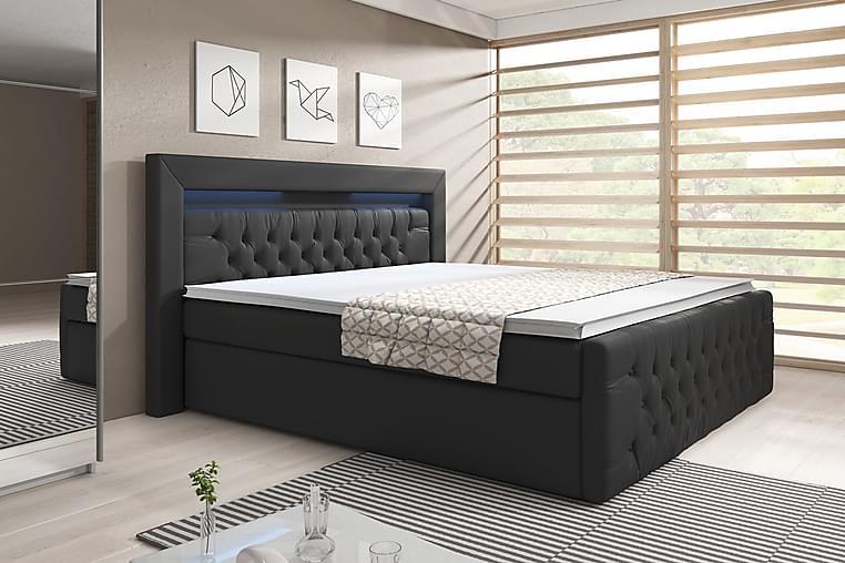 ELIO Sängpaket 140x200 med Förvaring Svart/Konstläder - Möbler & Inredning - Sängar - Sängar med förvaring