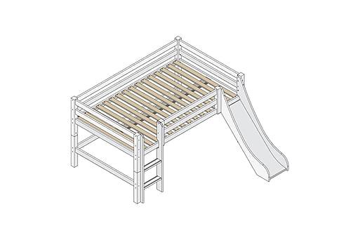 STENEBO Säng med stege och rutschkana 209 cm Vit, Våningssängar