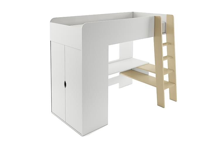 VINDIE Loftsäng med Skrivbord och Garderob 90x200 Vit - Möbler & Inredning - Sängar - Våningssängar