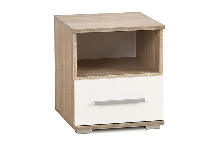 GENDRON Sängbord 1 Låda Ek/Vit - Möbler & Inredning - Bord - Sängbord