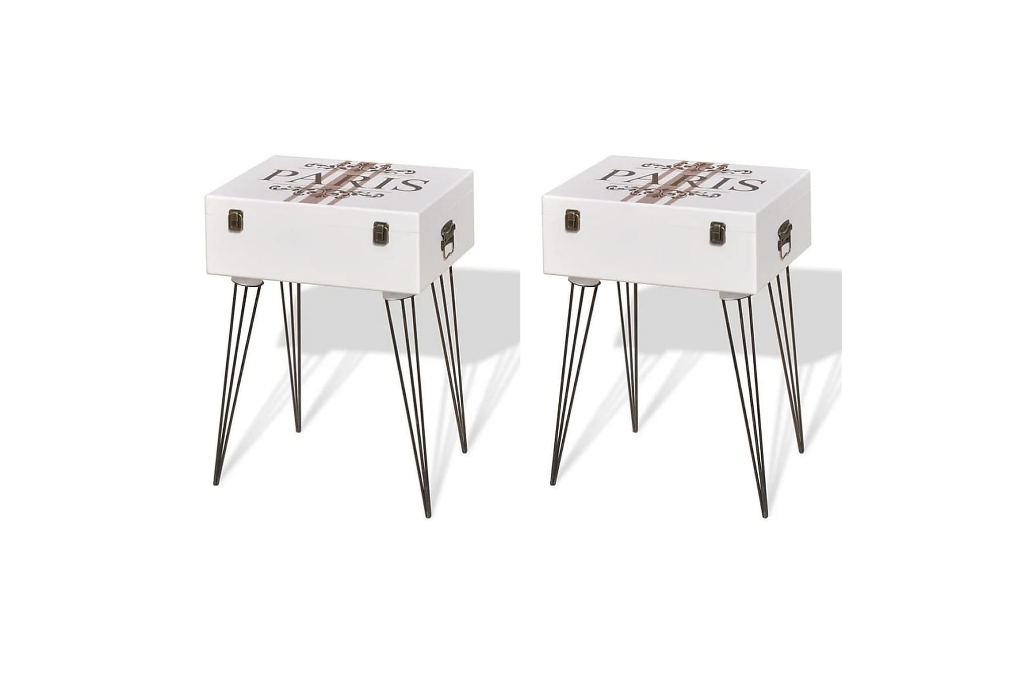 Sängbord 2 st 40x30x57 cm vit